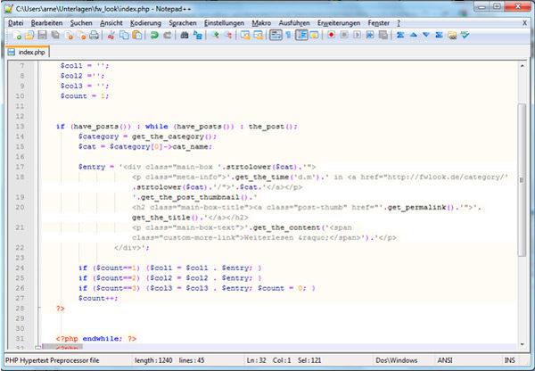 Screenshot aus Notepad ++