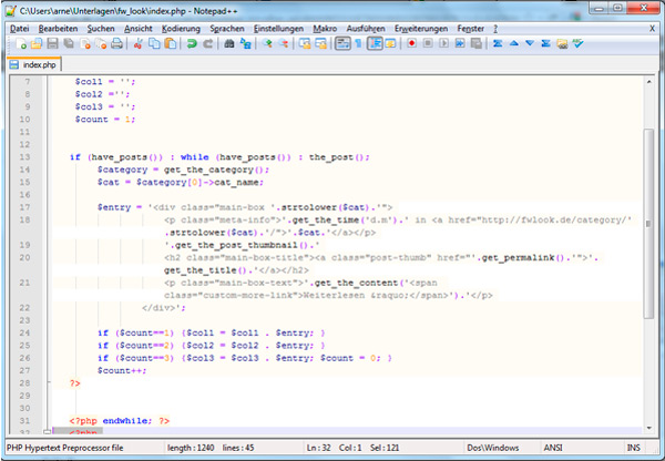 Screenshot aus Notepad ++
