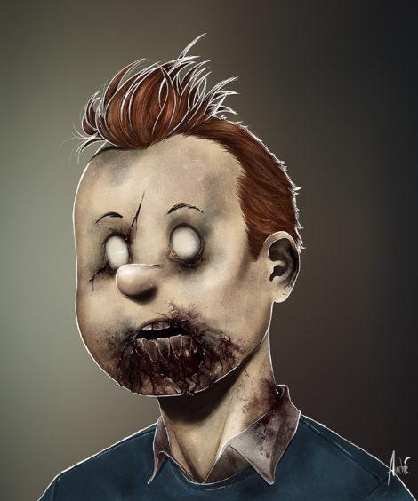 Zombie Tintin Illustration von Andre De Freitas (©Andre De Freitas)