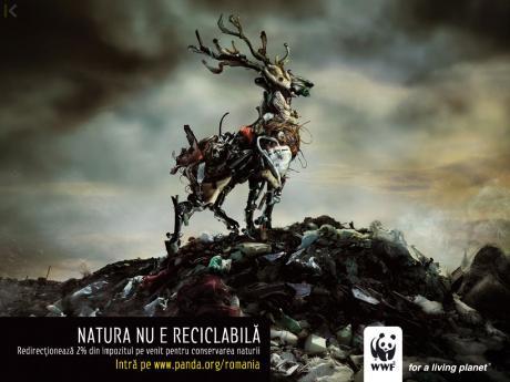 "WWF Rumänien Plakatkampagne ""Natur kann man nicht recyclen"""