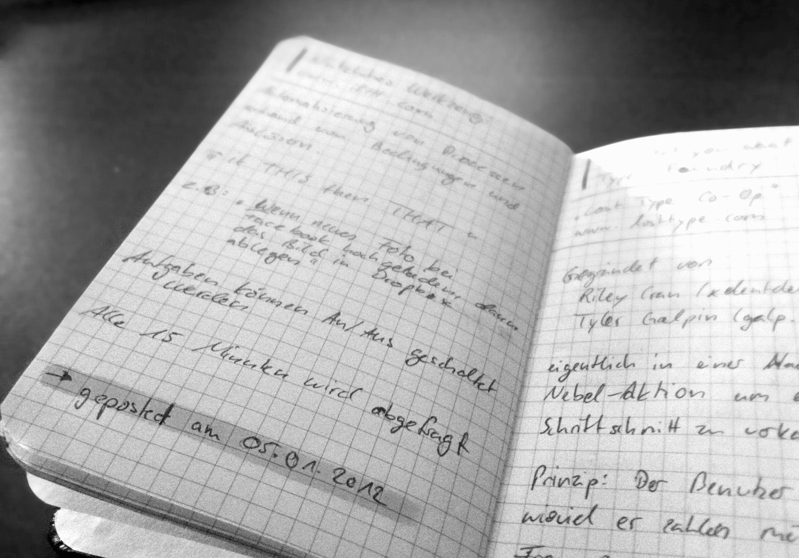 Ein typisches Notizbuch über den Design Blog FW: look!