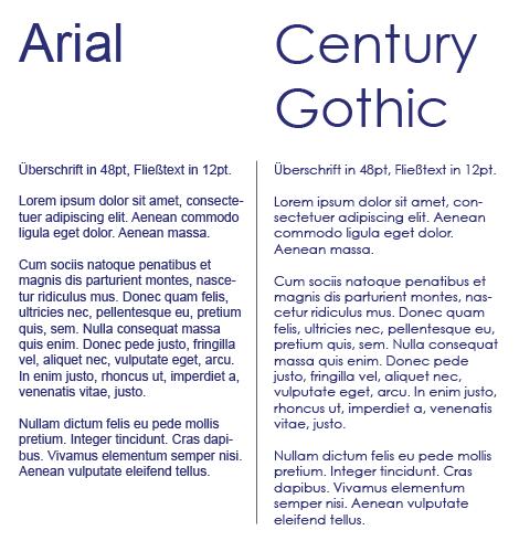 Vergleich von Arial und Century Gothic