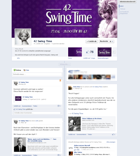 Ansicht der 42 Swing Time facebook-Seite