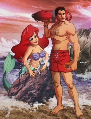 Kleine Meerjungsfrau mit Baywatch Hasselhoff