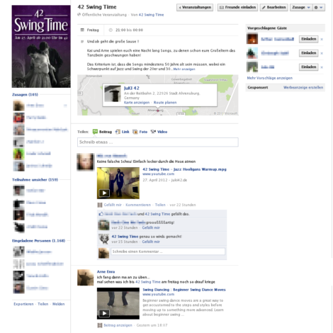 """42 Swing Time""-Veranstaltung bei Facebook"