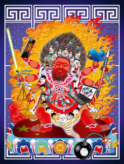 Ai Weiwei als erzürnte buddhistische Gottheit: Der Künstler Tin-Kin Hung übersetzt die Geheimcodes in Bilder, mit denen chinesische Blogger die Zensur umgehen. Bild: Kenneth Tin-Kin Hung