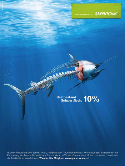 Werbeplakat zum Thema Bedrohung der Meeresbewohner