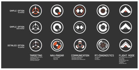 Die fertigen Vektor-Icons für das HUD