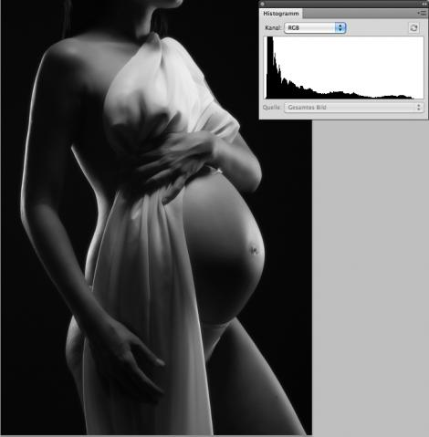 Low Key einer schwangeren Frau und passendes Histogramm