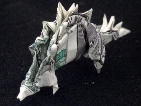 """Stegosaurus aus einer """"1 Dollar""""-Note"""