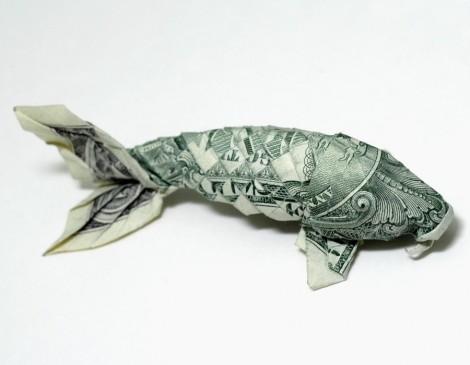 """Koi aus einer """"1 Dollar""""-Note"""