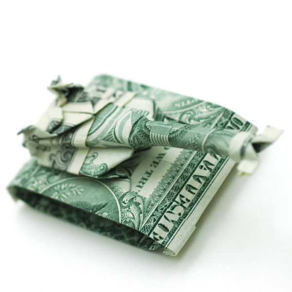 "Panzer aus zwei ""1 Dollar""-Noten"