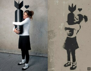 Banksy Girl Hugging Bomb