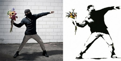 Banksy Throwing Flowers
