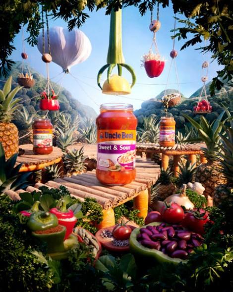 Landschaft aus Lebensmitteln für Uncle Ben's