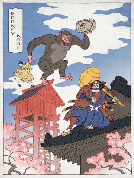 Ukiyo-e Heros: Donkey Kong im Stil traditioneller japanischer Holzstiche