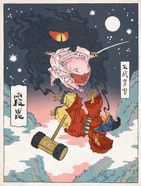 Ukiyo-e Heros: Kirby im Stil traditioneller japanischer Holzstiche