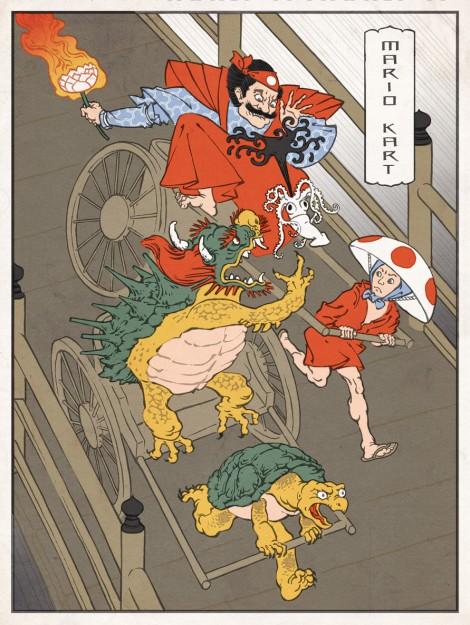Ukiyo-e Heros: Mario und Bowser beim Mario Kart Rennen im Stil traditioneller japanischer Holzstiche