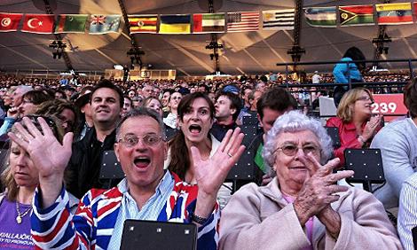 Britische Fans auf der Tribüne