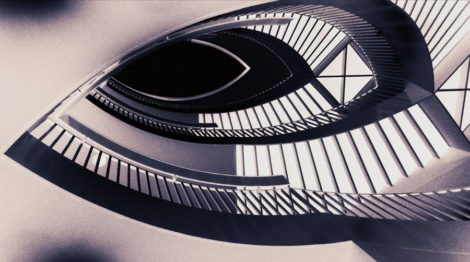 Für das Auge nicht leicht zu erfassen, was Schatten und was die eigentliche Treppe ist
