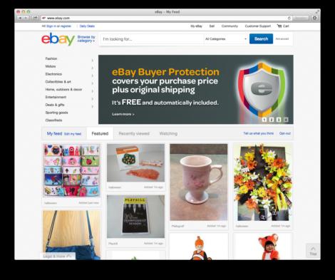 Das neue ebay-Layout. Erreichbar unter www.ebay.com/feed