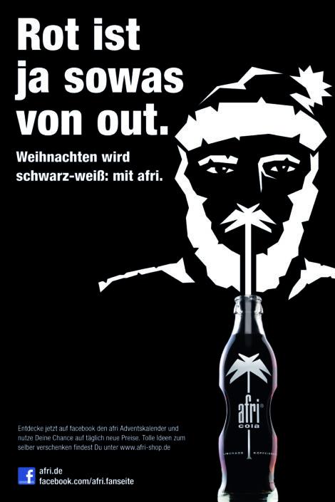 """afri cola Anzeigenmotiv: """"Rot ist ja sowas von out"""""""