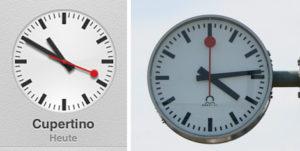 Apples iPad Uhr im Vergleich zum Original