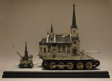 Kirchenpanzer mit Flakanhänger